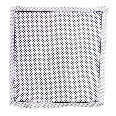 Carré de soie foulard mini blanc pois noir 50 x 50 cm