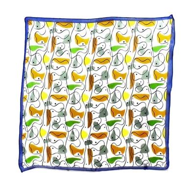 Carré de soie foulard mini imprimé fantaisie bleu 50 x 50 cm