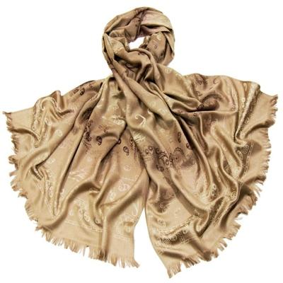 Etole en pashmina beige motifs dégradés