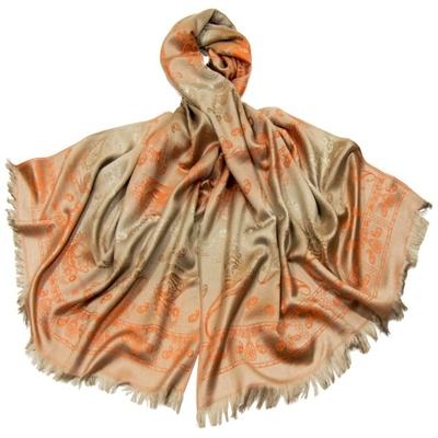 Etole en pashmina beige motifs dégradés orange