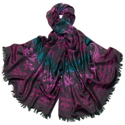 Etole en pashmina noir motifs dégradés rose