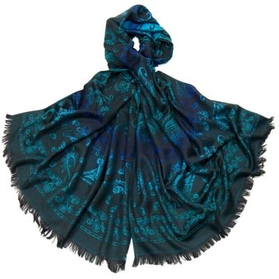 Etole en pashmina noir motifs dégradés bleu