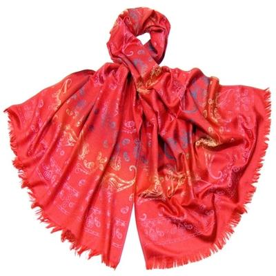 Etole en pashmina rouge motifs dégradés