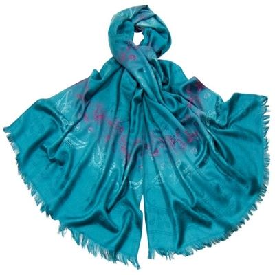 Etole en pashmina bleu canard motifs dégradés