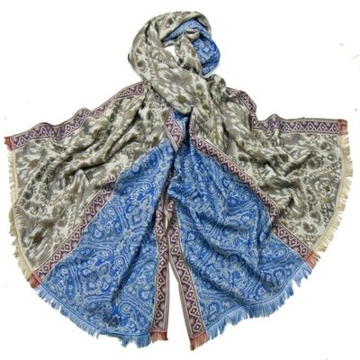 Etole pashmina tissage batik bleu