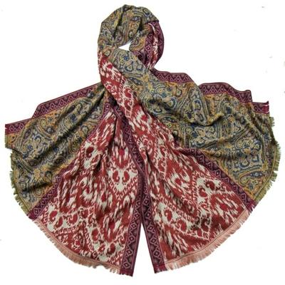 Etole pashmina tissage batik rouge bordeaux