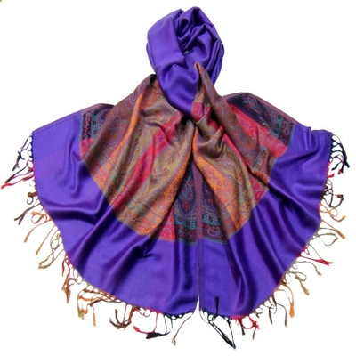 Etole pashmina violet tissage multicolore