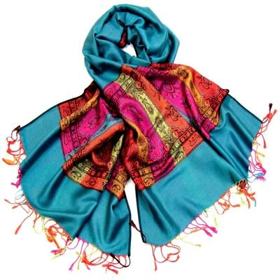 Etole pashmina émeraude tissée motifs multicolores