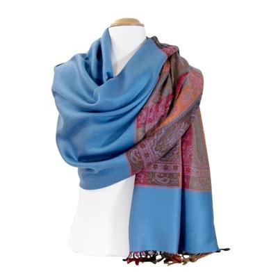 Etole pashmina bleu gris tissée bandes multicolores