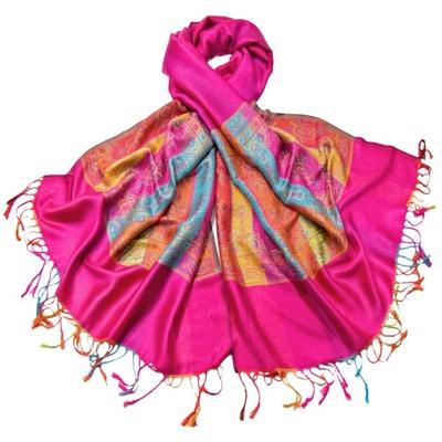 Etole pashmina rose fushia tissée motifs multicolores
