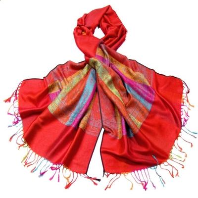 Etole pashmina rouge tissée motifs multicolores