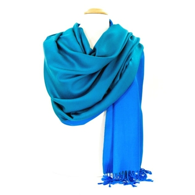Etole pashmina bleu vert réversible