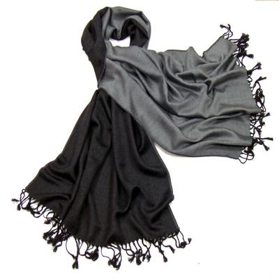 Etole pashmina noir gris réversible