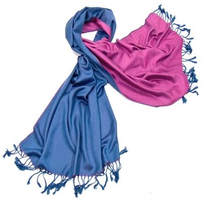 Etole pashmina bleu jeans fushia réversible