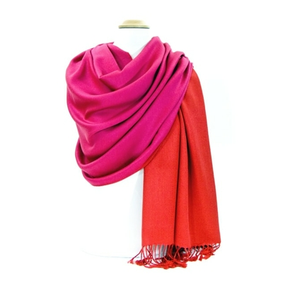 Etole pashmina rouge rose fushia réversible