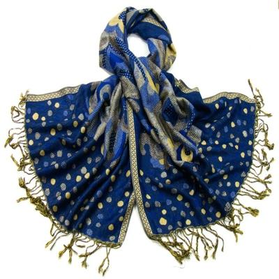 Etole pashmina bleu pois et volutes