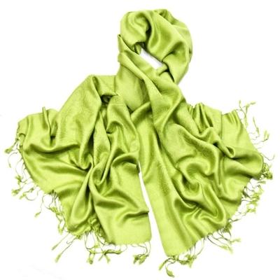 Etole vert anis pashmina tissage damassé