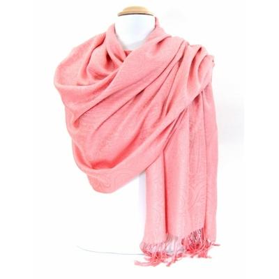 Etole pashmina rose tissage damassé