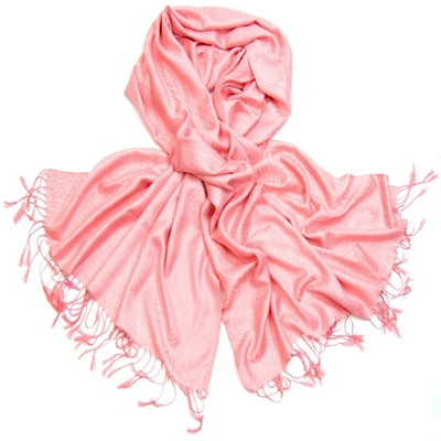 Etole pashmina rose tissage damassé
