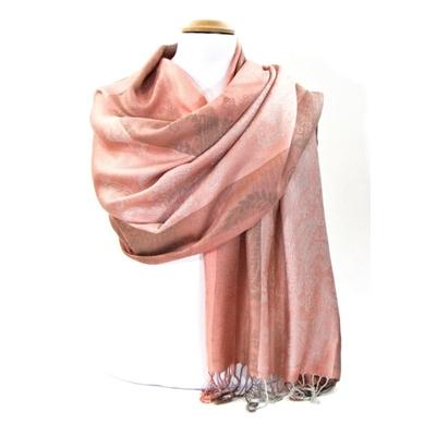 Etole pashmina rose saumon rayures motifs cachemire