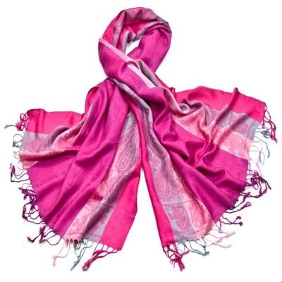 Etole pashmina rose fushia rayures motifs cachemire