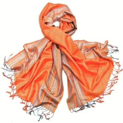 Etole pashmina orange bordures contrastées