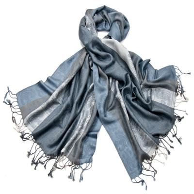 Etole pashmina bleu gris rayures motifs cachemire