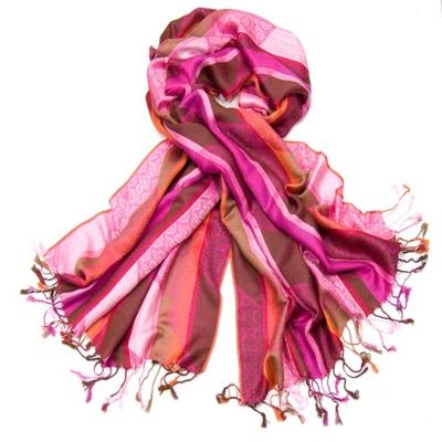Etole pashmina rayures et motifs rose fushia
