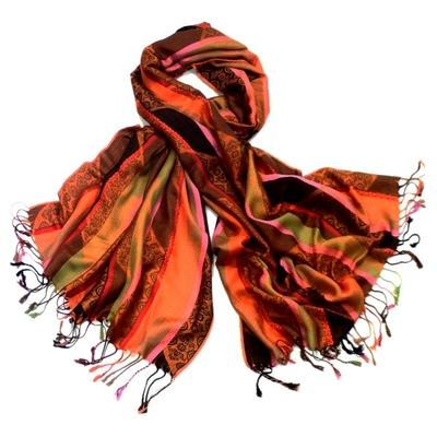 Etole pashmina rayures et motifs orange