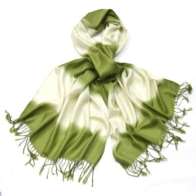 Etole pashmina vert écru dégradé