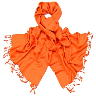 Etole orange pashmina tissage damassé