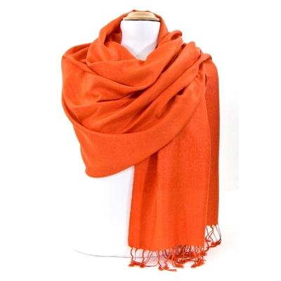 Etole orange pashmina tissage damassé