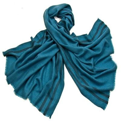 Etole laine fine bleu turquoise tissée avec rayures