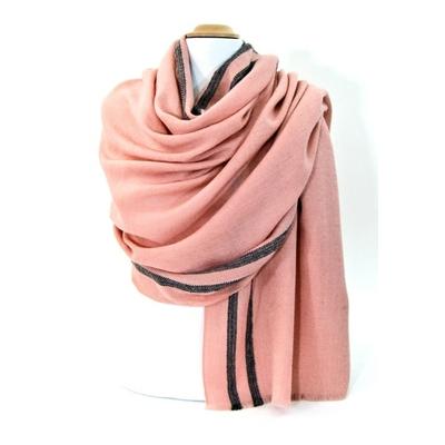 Etole laine fine rose tissée avec rayures