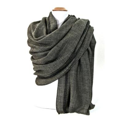 Etole laine fine gris tissée avec rayures