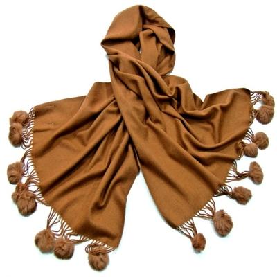Etole camel en laine et fourrure