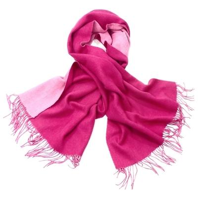 Etole en laine deux faces fushia et rose
