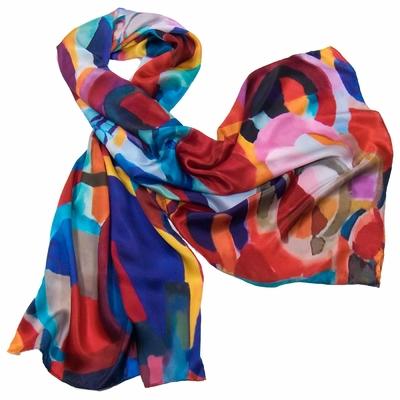 Foulard en soie bleu modern art