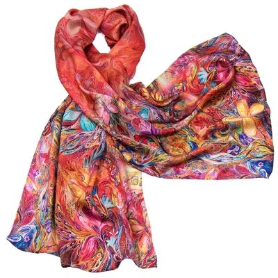Foulard en soie rouge volutes