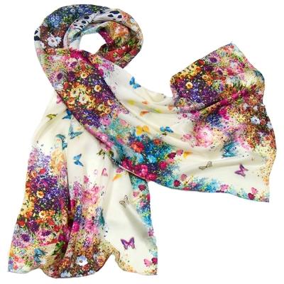 Foulard en soie écru flowers