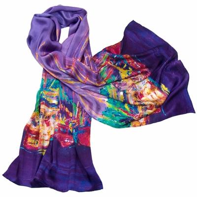 Foulard en soie violet playa