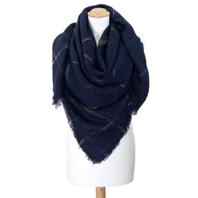 Châle carré en laine bleu marine carreaux chinés