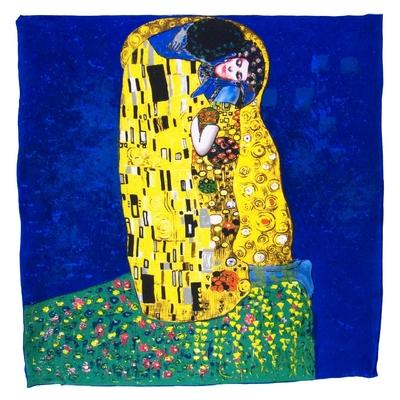 Foulard en soie carré artysilk Le baiser bleu Klimt