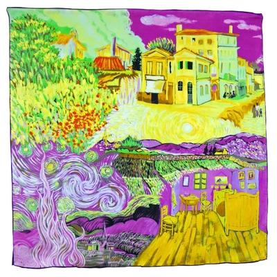 Foulard en soie carré artysilk quatre tableaux Van Gogh