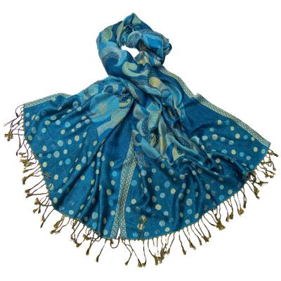 Etole pashmina bleu turquoise pois et volutes