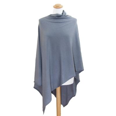 Poncho bleu gris maille asymétrique