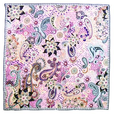 Foulard en soie satin rose lorine premium 90 x 90 cm