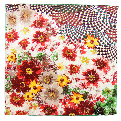 Foulard en soie satin orange bouquet premium 90 x 90 cm