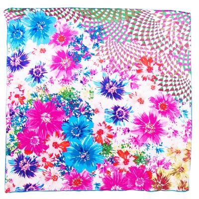 Foulard en soie satin fushia bouquet premium 90 x 90 cm