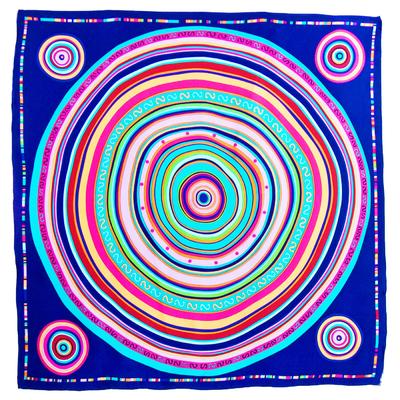 Foulard en soie satin bleu cercles premium 90 x 90 cm